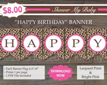 75% off SALE Leopard and Bright Pink HAPPY BIRTHDAY Banner - Printable Birthday Banner- Leopard Bright Pink White - Cheetah Party Decoration