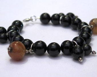 Bracelet black agate and silver Sterling 925