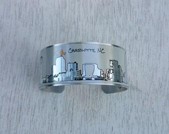 Charlotte NC Skyline Cuff Bracelet