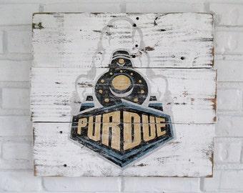Vintage Purdue University Reclaimed Wood Sign