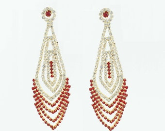 Ruby Chandelier and Silver Diamond Earrings