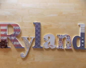 Personalized Wooden Letters:  Nautical Set