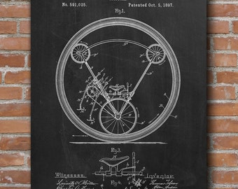 Unicycle Patent Print, Unicycle Patent, Home Decor, Patent Poster - DA0448