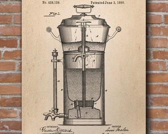 Coffee Urn Patent Print, Coffee Poster, Kitchen Decor, Coffee Print, Patent Poster - DA0405