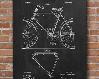 Bicycle Frame Patent , Bicycle Poster, Home Decor, Patent Print - DA0544