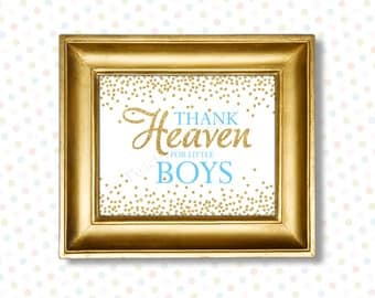 Thank heaven for little boys printable 8x10 (INSTANT DOWNLOAD) - Printable nursery art - Blue and gold nursery decor - Nursery quotes BA008