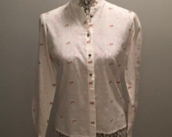 Vintage Emroidered Women's Shirt / Shirt by Diolen Cotton / Size 38 (fits like a small)