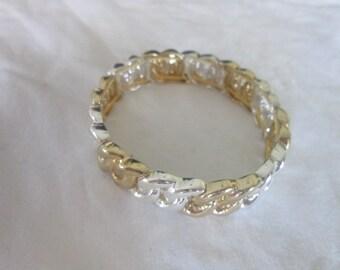 Vintage Gold & Silver Tone Stretchy Fancy Bracelet