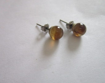 Vintage Smokey Quartz & Sterling Silver Stud Pierced Earrings
