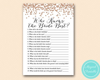 Who knows the Bride Best Game Printable, Rose Gold Bridal Shower Game Printable, Bachelorette, Wedding Shower BS155