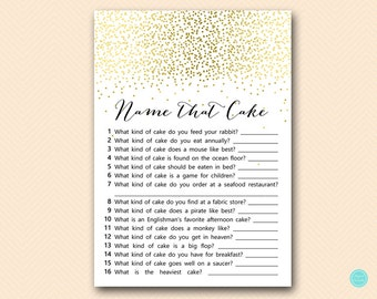 Gold Bridal Shower Games, Name that Cake, Name that wedding cake, Bridal Shower Cake Game, Bridal Shower Game,  BS472B