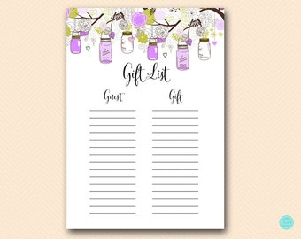 bridal shower gift list baby shower gift list guest list printable ...