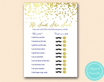 he said she said, he said she said bridal shower printable game, Navy Blue Gold Confetti Bridal Shower, Bachelorette, Wedding Shower BS159
