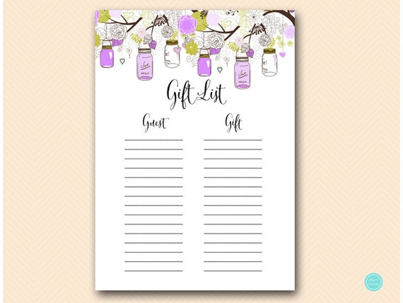Gift list, Bridal Shower Gift List, Baby Shower Gift List, Guest list ...