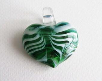 Green Glass Heart Pendant. Swirly Design.