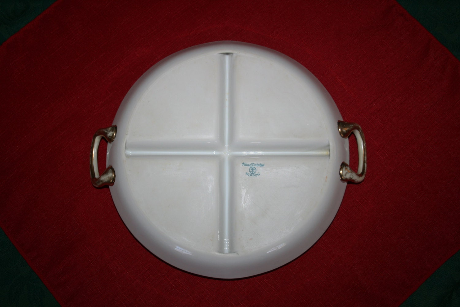 Antique Nippon Round Sectioned Plate Condiment Tray Or