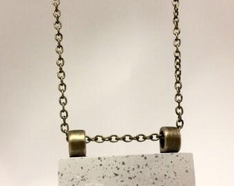Concrete rectangular bar necklace