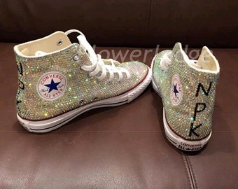 rhinestone converse high top style bride sneaker shoes flower girls /bridesmaid /prom girls women converse shoes personalized crystal shoes