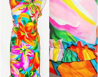 colorful 1960s hand made dress