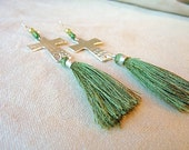 Cross & Green Silk Tassel Earrings, cross earrings silver cross hammered silver cross Valentines gift for mom religious gift boho earrings