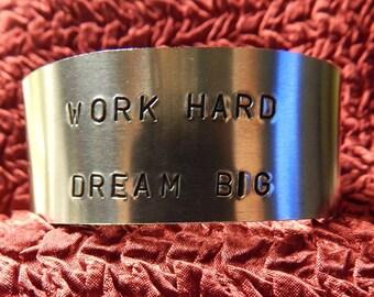 Thick Hand Stamped Aluminum Wrist Cuff 1 Inch