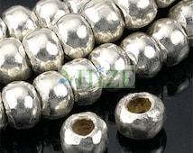 HIZE SB013 Thai Karen Hill Tribe Silver Plain Roller Rondelle Beads 5mm (32)