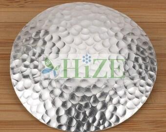 HIZE SC314 Thai Karen Hill Tribe Silver Hammered Shiny Disc Pendant 48mm
