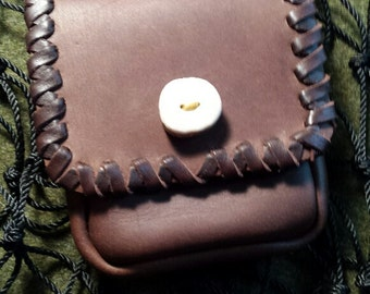 Small Dark Brown Leather Pouch