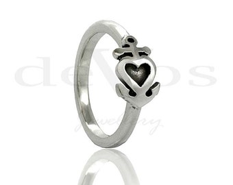 Heart Ring - Anchor Ring - Heart And Anchor Ring