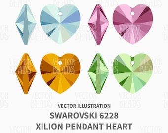 Swarovski 6228 Xilion Pendant Heart Vector Illustration - Bead Vector Graphics - ai, eps, pdf, png