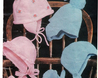 Baby boy and girl hats and mitts Knitting Pattern PDF -fits 0-6 mths and 6-12 months