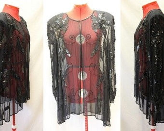 VTG Long Sleeve Sheer with Sequins Jacket/Long Cardigan/Black Floral/Size Large/Fantasy/Hollywood/Costume/Gala/Party/Event/Glam/Gothic/Chic