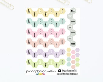 Pastel Hexagon Weekend Banner Planner Stickers Inkwell Press Planner Livewell Erin Condren Plum Paper Vibrant Straight May Designs Honeycomb