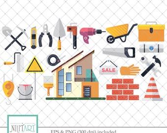Construction clip art, Building clipart, vector graphics, Work tool clipart, digital clip art, digital images -  CL 125
