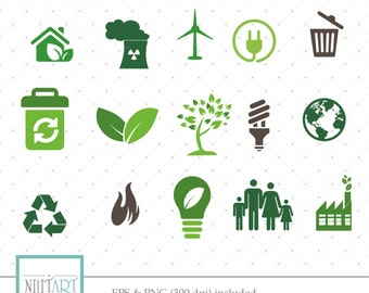Recycling clipart , Environment  clipart, vector graphics, Green energy clipart,  digital images -  CL 080