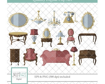 Furniture clipart , Living room clipart, vector graphics, vintage clipart, digital clip art, digital images -  CL 084