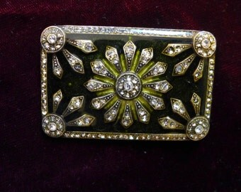 Free Shipping! Lucite encased 1930s Costume Rhinestone Pin 1.5 x 2.25 Excellent Unmarked