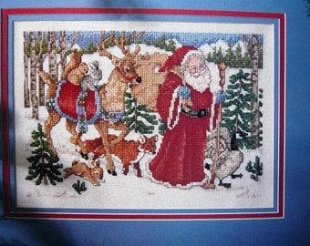 Woodland Santa counted cross stitch pattern Leisure Arts magazine