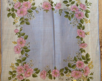 Kreier 100% Cotton Handkerchief - Geometric Floral Design in Pale Pink, Pale Blue and Pink Roses  - New and Unused From Vintage 1970 Stock