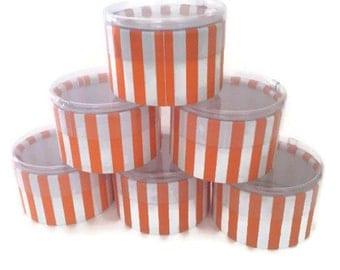 Orange & White Stripe Round Candy/Favor Box