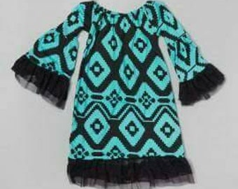 Turquiouse and black Aztec infant dress with ruffle bell sleeves.