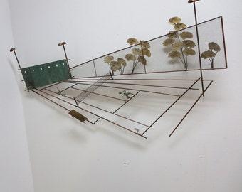 Vintage Mid Century Curtis Jere Tennis Match Metal Wall Sculpture