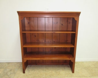 "42"" Ethan Allen Knotty Pine Country Craftsman Dresser Cabinet Hutch Top Shelf"