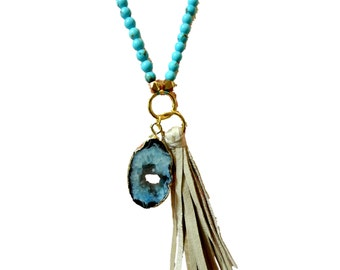 Druzy Geode & Suede Tassel Pendant on Turquoise Bead Necklace