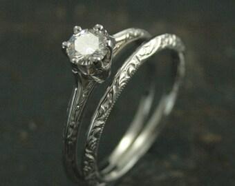 14K White Gold Bridal Set--Atlantean Wedding Set--Vintage Style Six Prong Solitaire--Antique Style Engraved Knife Edge Ring and Wedding Band