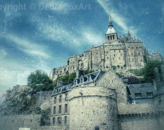 Le Mont St Michel Photography, Fairy Castle Wall Art, Ethereal Photo, Home Decor, Travel Photography - Magical Mont Enchanted Island
