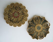 Straw Trivet Green Brown Set of Two