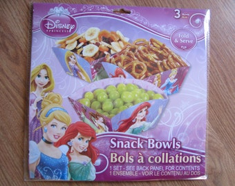 Princess Disney 3 Snack Bowls Pink Purple Girls Birthday Party Baby Shower Wedding