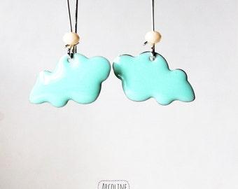 Earring large sleeper green enamelled cloud of water