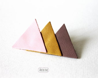 Brooch leather pastel triangle